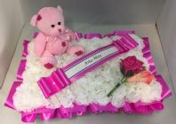 ARTIFICIAL FUNERAL FLOWERS SILK WREATH MEMORIAL GRAVE BABY TEDDY PINK PILLOW